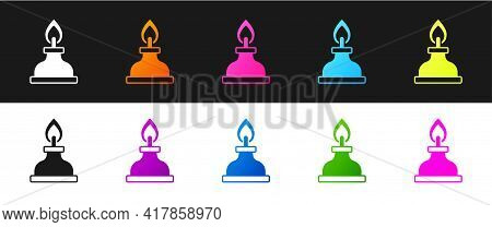Set Alcohol Or Spirit Burner Icon Isolated On Black And White Background. Chemical Equipment. Vector