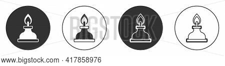 Black Alcohol Or Spirit Burner Icon Isolated On White Background. Chemical Equipment. Circle Button.