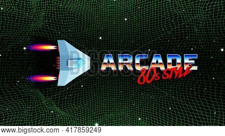 Arcade Space Ship Flying Over The The Green Grid Corridor Or Canyon Landscape With 3d Mountains, 80s