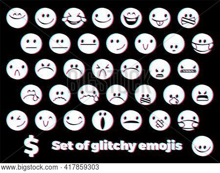Emoji Icons Set With Smiling Face, Angry Face, Masked And Censored Faces With Glitch Style