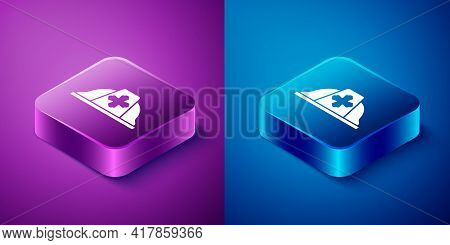Isometric Firefighter Helmet Or Fireman Hat Icon Isolated On Blue And Purple Background. Square Butt