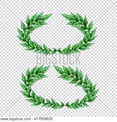 Set Of Two Isolated Green Laurel Wreaths In Realistic Style On Transparent Background Vector Illustr