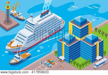 Seaport Isometric Colored Concept With Big Ship Named Sea Star Sailing In The Port Vector Illustrati