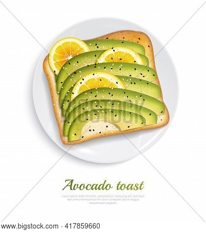 Fresh Toasted Bread With Slices Of Ripe Avocado And Lemon On White Plate Realistic Design Concept Ve