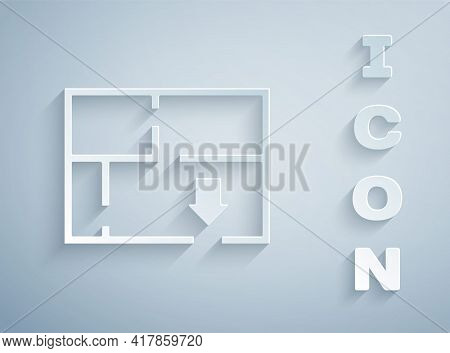 Paper Cut Evacuation Plan Icon Isolated On Grey Background. Fire Escape Plan. Paper Art Style. Vecto