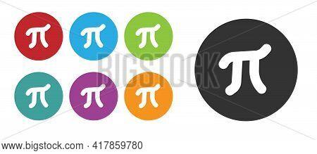 Black Pi Symbol Icon Isolated On White Background. Set Icons Colorful. Vector