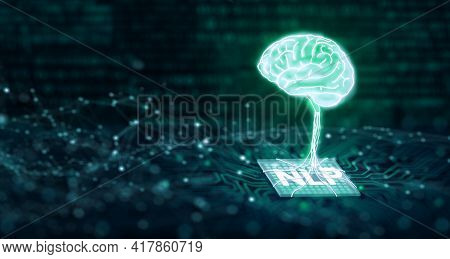 Brain On Cpu. Computer Mainboard With Binary. Ai, Machine Learning, And Nlp Natural Language Process