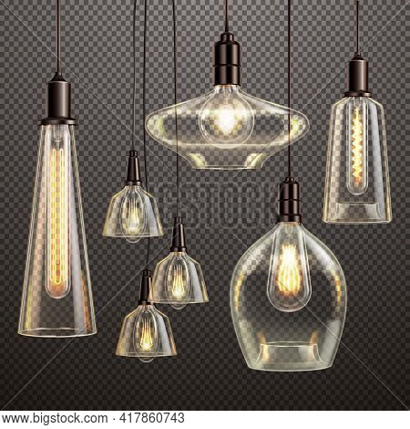 Hanging Clear Glass Lamps With Glowing Filament Antique Led Light Bulbs Realistic Dark Gradient Tran