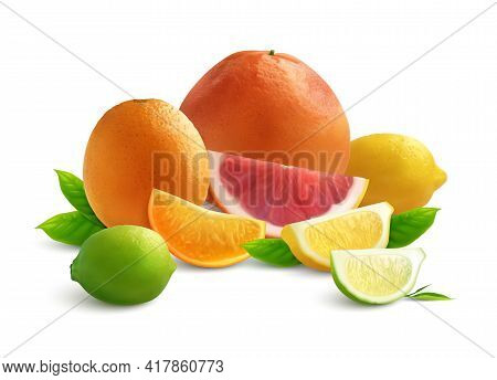 Citrus Realistic Colored Composition With Slices Of Grapefruit Lyme Orange And Lemon On White Backgr