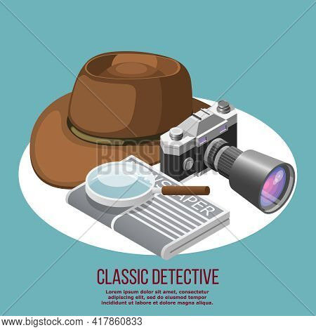Classic Detective Isometric Retro Composition Composed From Felt Hat Newspaper Loupe And Camera With