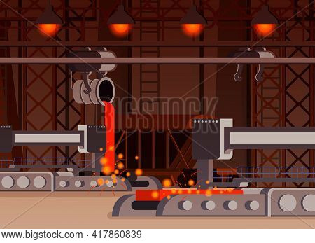 Steel Production Flat Composition Casting Process In Foundry Work Shop With Automated Equipment Vect