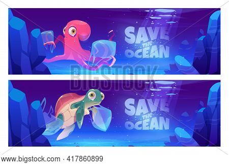 Save Ocean Cartoon Banner With Underwater Animals And Trash In Sea. Water Pollution With Plastic Eco