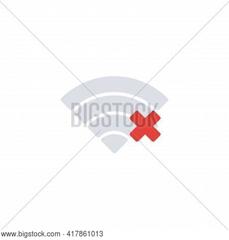 Wifi Network Problem Flat Icon, No Internet Signal Vector Sign, Colorful Pictogram Isolated On White