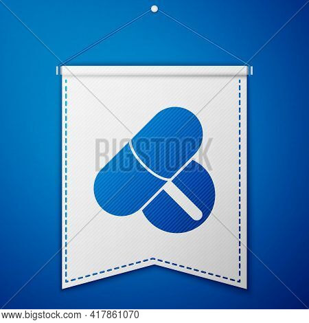 Blue Medicine Pill Or Tablet Icon Isolated On Blue Background. Capsule Pill And Drug Sign. Pharmacy
