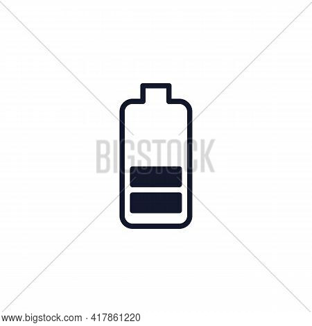 Battery Level Status Flat Icon, Battery Charge Level Vector Sign, Colorful Pictogram Isolated On Whi