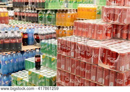 Tyumen, Russia-november 07, 2020: Coca Cola Sprite Fanta In The Sale Of Carbonated Drinks