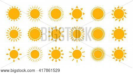 Sun Icon Set For Use In Weather Apps Or As Logos. Vector Yellow Sun Icons Collection. Sunlight, Sky,