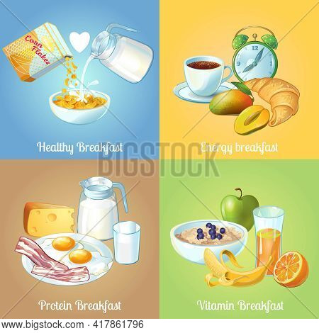 Four Breakfast Compositions Or Icon Set With Healthy Energy Protein And Vitamin Breakfast Descriptio