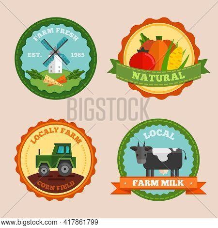 Flat Farm Emblem Set With Farm Fresh Natural Locally Farm Corn Field And Local Farm Milk Description