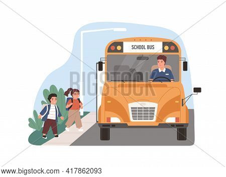 Yellow School Bus Driver Arrived At Stop With Children. Kids Entering Schoolbus. Transport For Schoo
