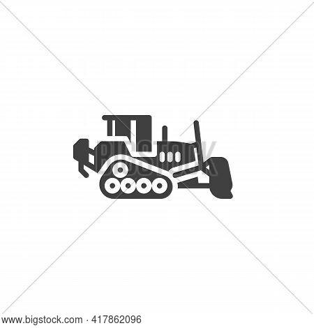 Loader Bulldozer Vector Icon. Filled Flat Sign For Mobile Concept And Web Design. Bulldozer Excavato
