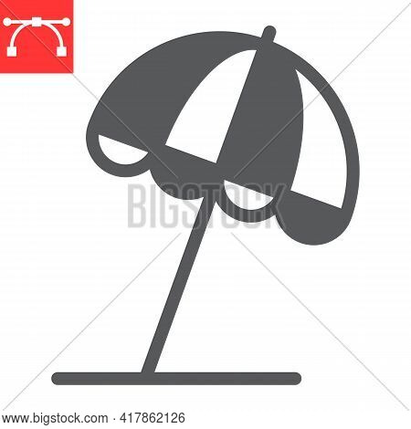 Beach Umbrella Glyph Icon, Sun Umbrella And Tourism, Parasol Vector Icon, Vector Graphics, Editable