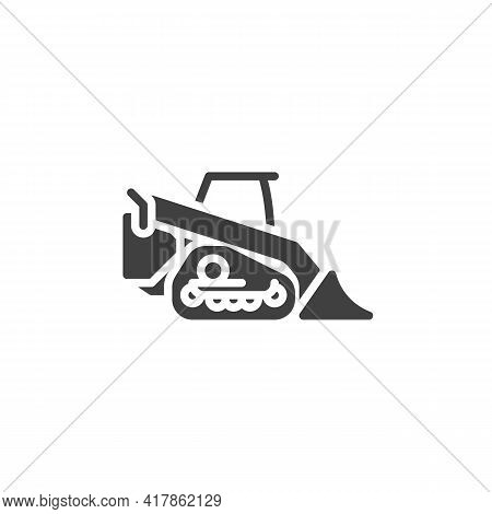 Mini Excavator Vector Icon. Filled Flat Sign For Mobile Concept And Web Design. Excavator Loader Gly
