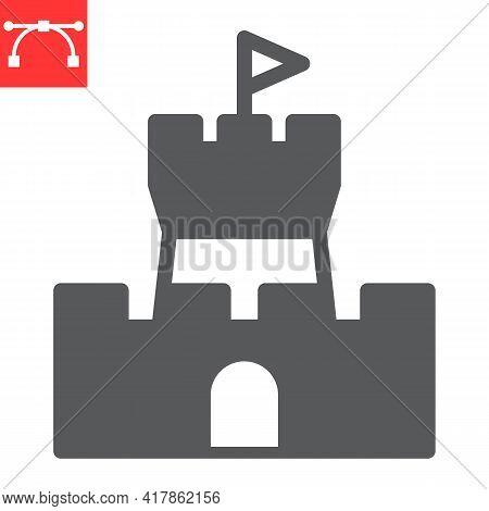 Sand Castle Glyph Icon, Summer And Beach, Castle Vector Icon, Vector Graphics, Editable Stroke Solid