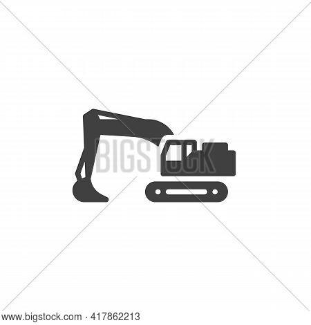 Backhoe Loader Vector Icon. Filled Flat Sign For Mobile Concept And Web Design. Digger, Excavator Gl