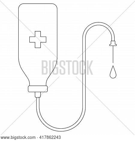 Medical Drop Counter Vector Icon Isolated On White. Black And White Drop Counter Flat Illustration.