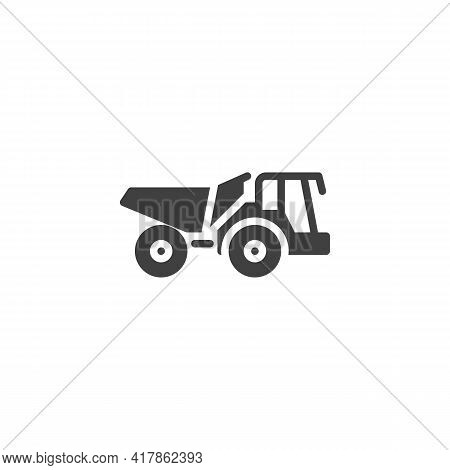 Dump Truck Vector Icon. Filled Flat Sign For Mobile Concept And Web Design. Construction Truck Glyph