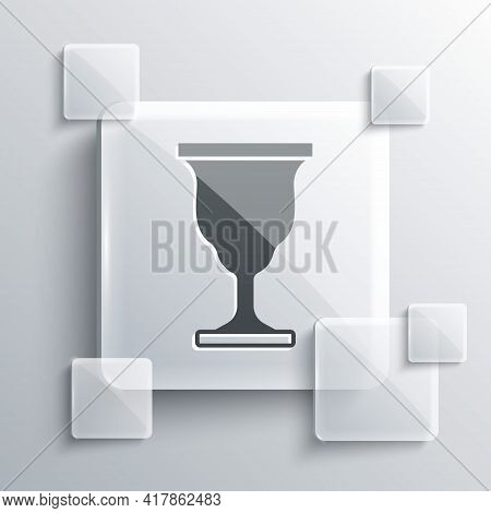 Grey Christian Chalice Icon Isolated On Grey Background. Christianity Icon. Happy Easter. Square Gla