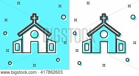 Black Line Church Building Icon Isolated On Green And White Background. Christian Church. Religion O