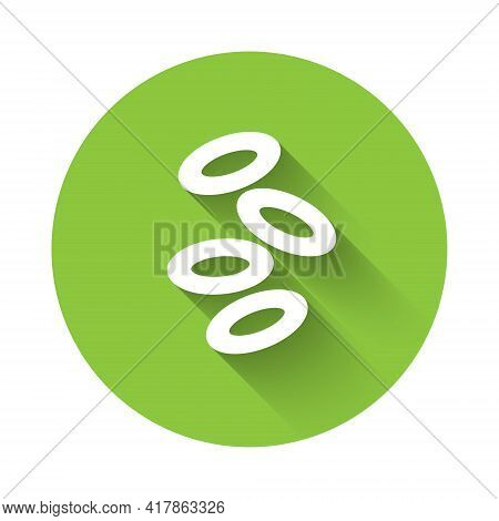 White Medical Hemoglobin Erythrocytes Icon Isolated With Long Shadow. Green Circle Button. Vector
