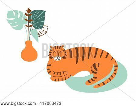 Tiger Cartoon Character. Wild Cat, Safari Animal Stay At Home. Cute Tiger Lies, Naive Art Wild Anima