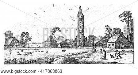 Hikers on a road near Spaarnwoude, Esaias van de Velde, 1615 - 1616