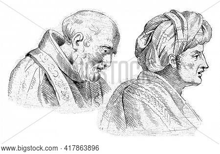 On the left a man with a beard, dressed in a toga with a stole. On the right a man with a turban on his head.