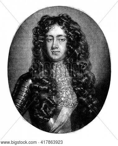 Portrait of James Scott, Duke of Monmouth, Jan van der Vaart, after Willem Wissing, 1682 - 1721