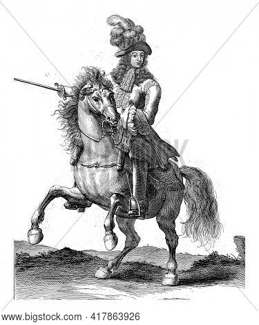 Portrait of Maximilian II Emanuel, Elector of Bavaria, on horseback with a sword in his hand. At the bottom in the margin are name and function in Latin.