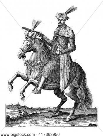 Portrait of Hungarian statesman Imre Thokoly on horseback with command staff in hand. At the bottom in the margin are name and position in Dutch.