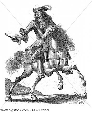 Portrait of Ernst Rudiger of Starhemberg on horseback with a sword in his hand. At the bottom in the margin are name and position in Dutch.