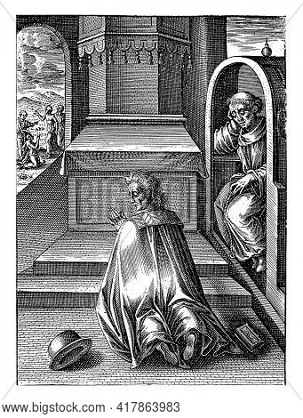 A praying man kneels before an altar between a hat and a book. On the right, a monk is sitting in a confessional.