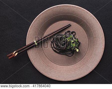Black Spaghetti, Pasta Of Durum Wheat Semolina.