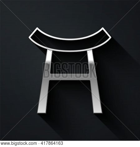 Silver Japan Gate Icon Isolated On Black Background. Torii Gate Sign. Japanese Traditional Classic G