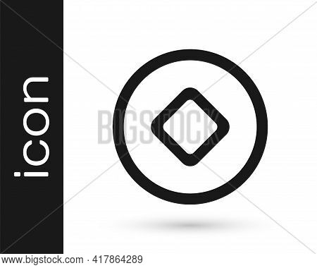 Black Chinese Yuan Currency Symbol Icon Isolated On White Background. Coin Money. Banking Currency S