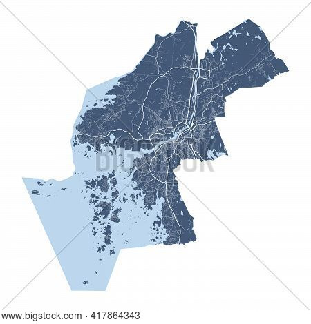 Gothenburg Map. Detailed Vector Map Of Gothenburg City Administrative Area. Cityscape Poster Metropo