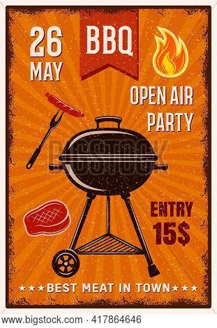Bbq Open Air Party Vintage Poster With Grill In Center Sausage Steak On Orange Background Vector Ill