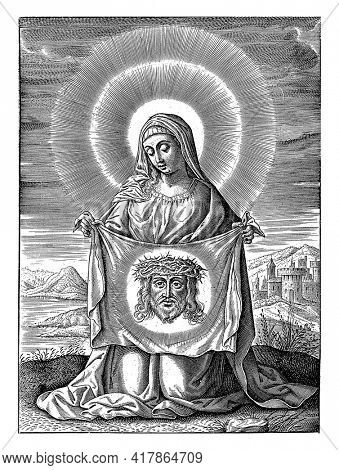 Saint Veronica with the vera icon, the cloth with the image of the face of Christ.