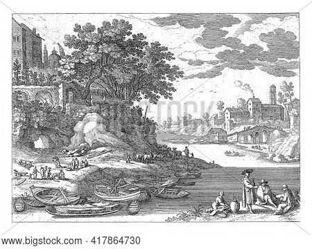 Harbor on a river with moored rowboats. On the left bank several figures and a herd of cattle. On the right bank, a woman with a child in a sling stands next to some seated figures.