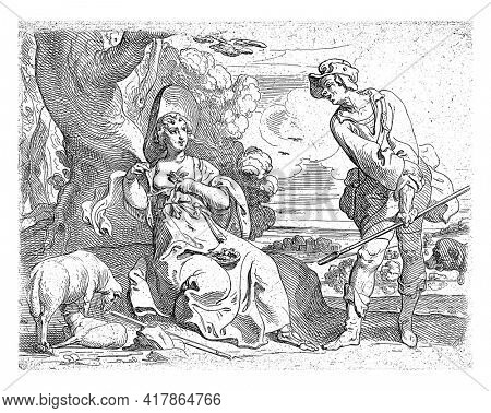 A shepherdess, with a bird's nest on her lap and a bird on her bare chest, seduces a shepherd who is already rolling up his sleeves. Two sheep on the left and a dog's head on the right.